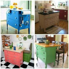 Diy Kitchen Island Chopping Block By Using A Old Dresser And Add Wheels On It Could Get Or Counter Top From Habitat S Re