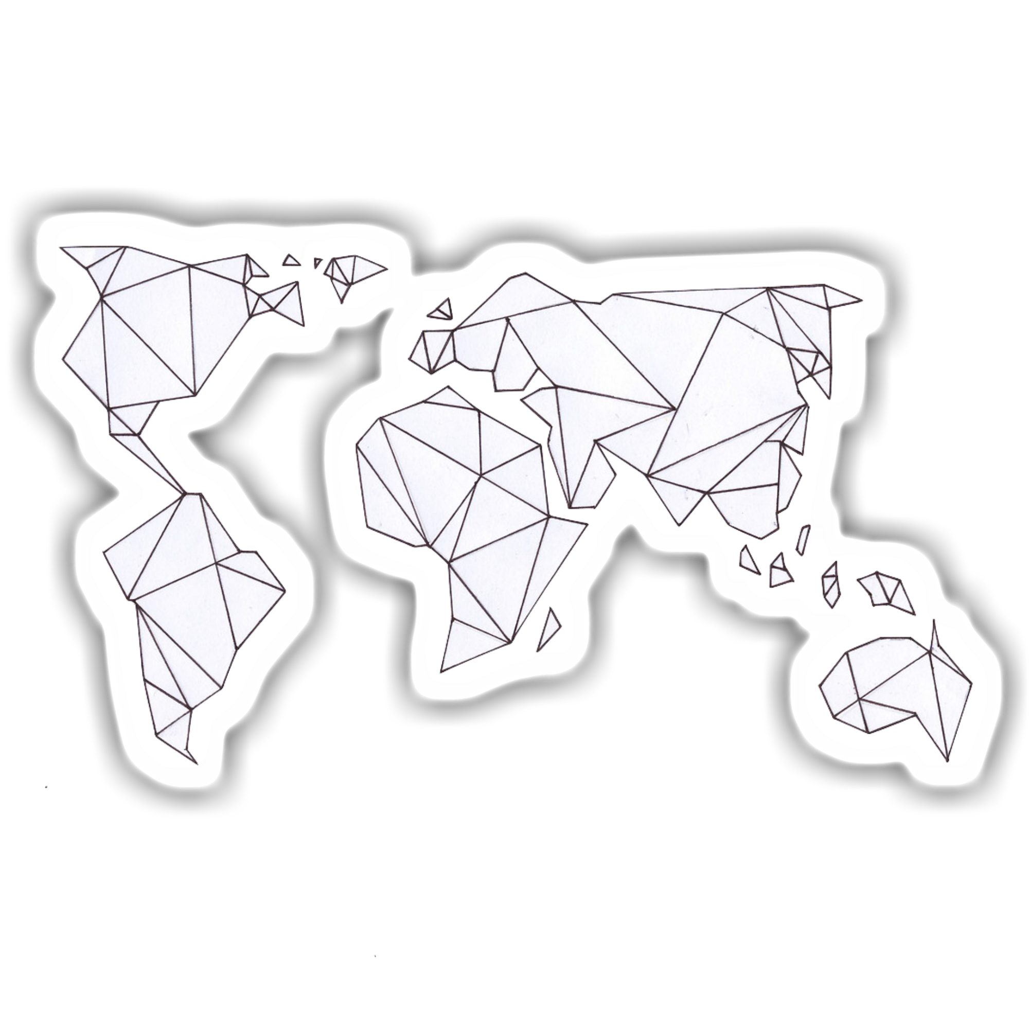 A sticker of a geometric world map. This sticker is