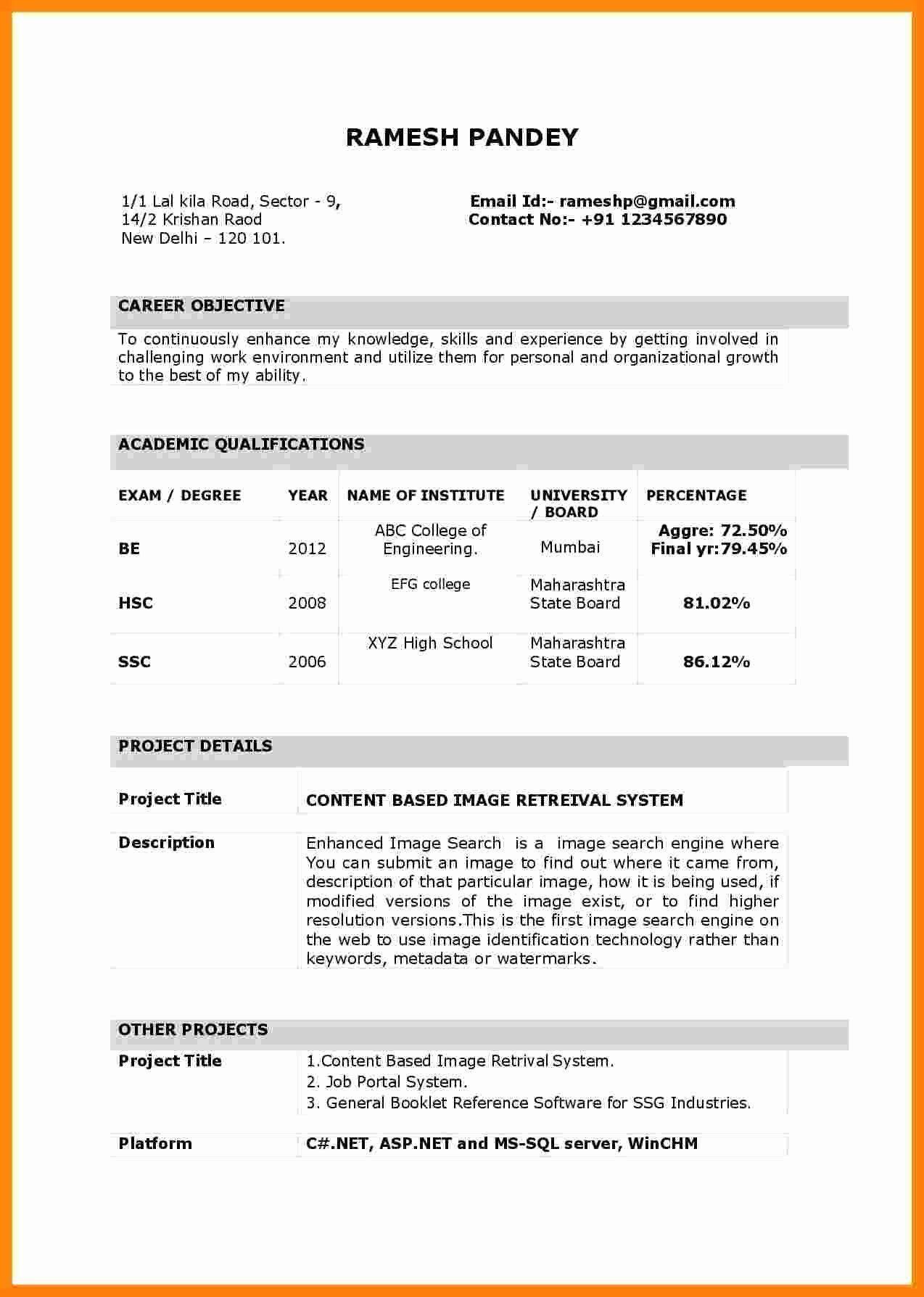 17 Automobile Fresher Resume Format Resume Format For Freshers Simple Resume Format Simple Resume