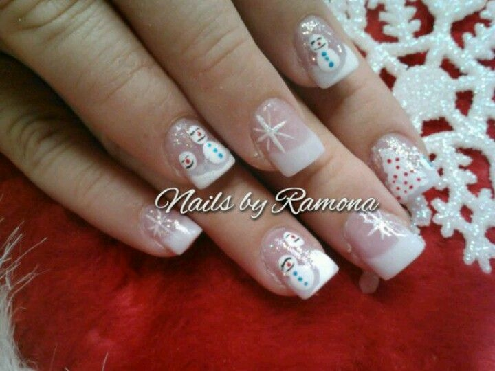 White Christmas Nails By Ramona White Tip Nails Christmas Nail Art Nails