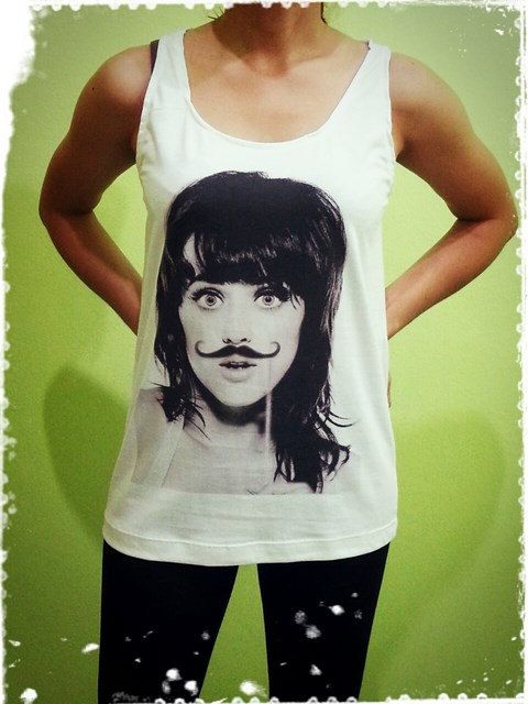 Katy Perry - Mustache Funny Sexy US Singer Billboard Woman Tank Top Crop Vest Tshirt T Shirt Tees S, M, L
