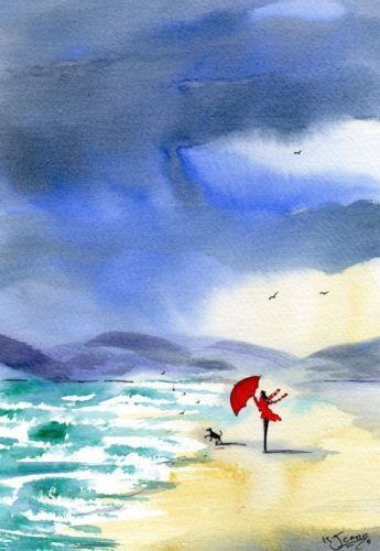 Watercolour Painting By Kj Carr Sunshine Showers A Shore