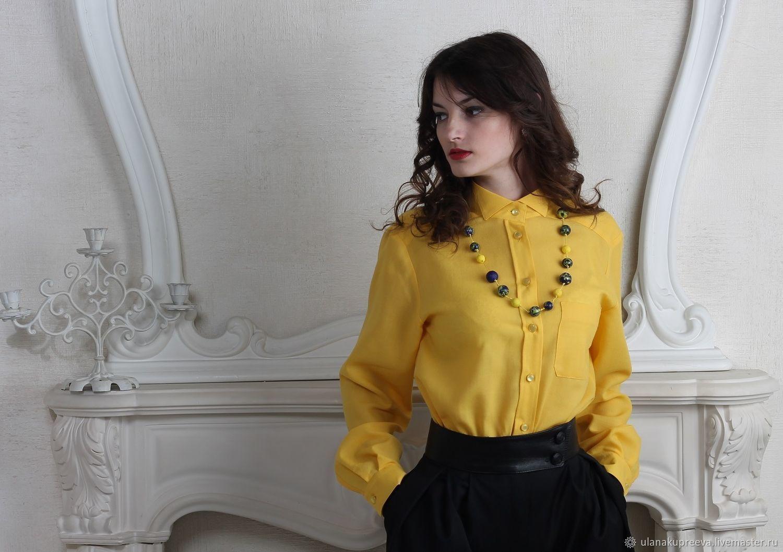 8e096444aa4 Рубашка женская классическая желтая – купить в интернет-магазине на Ярмарке  Мастеров с доставкой