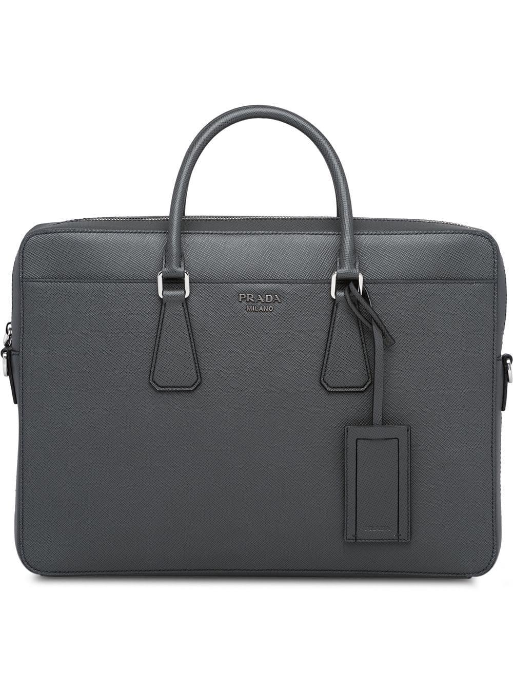 8e772ea3775f3 PRADA PRADA SAFFIANO CUIR LEATHER BRIEFCASE - GREY.  prada  bags  leather   hand bags