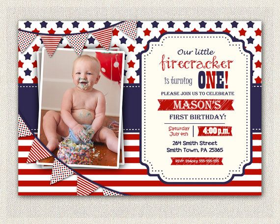 4th July First Birthday Invitation Girl Boy Invite Gender Neutral Fourth Of Patriot Red White