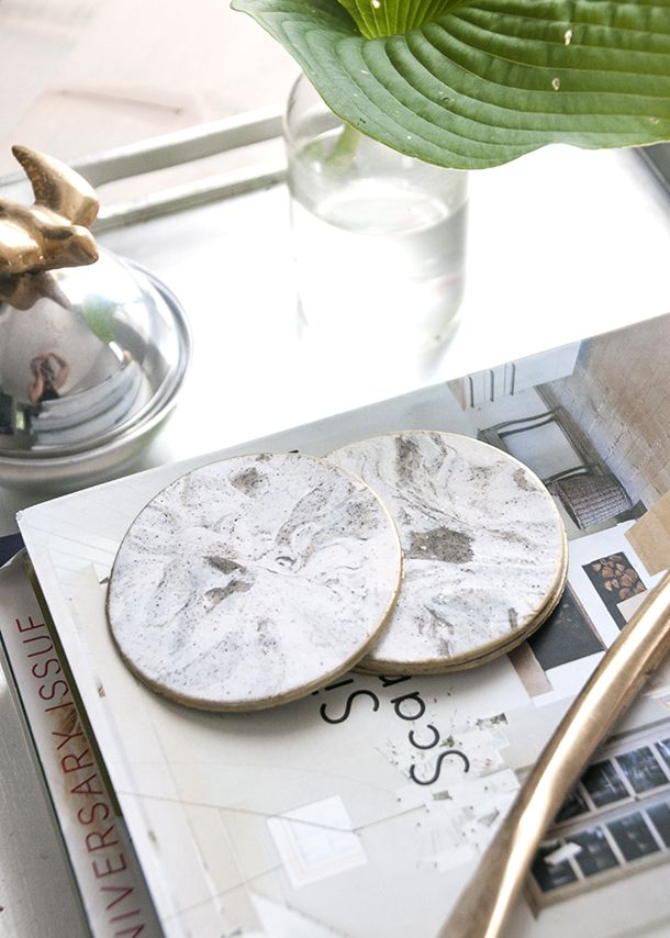 Gold Rimmed Faux Marble Coasters Crafty Things Marble Coasters