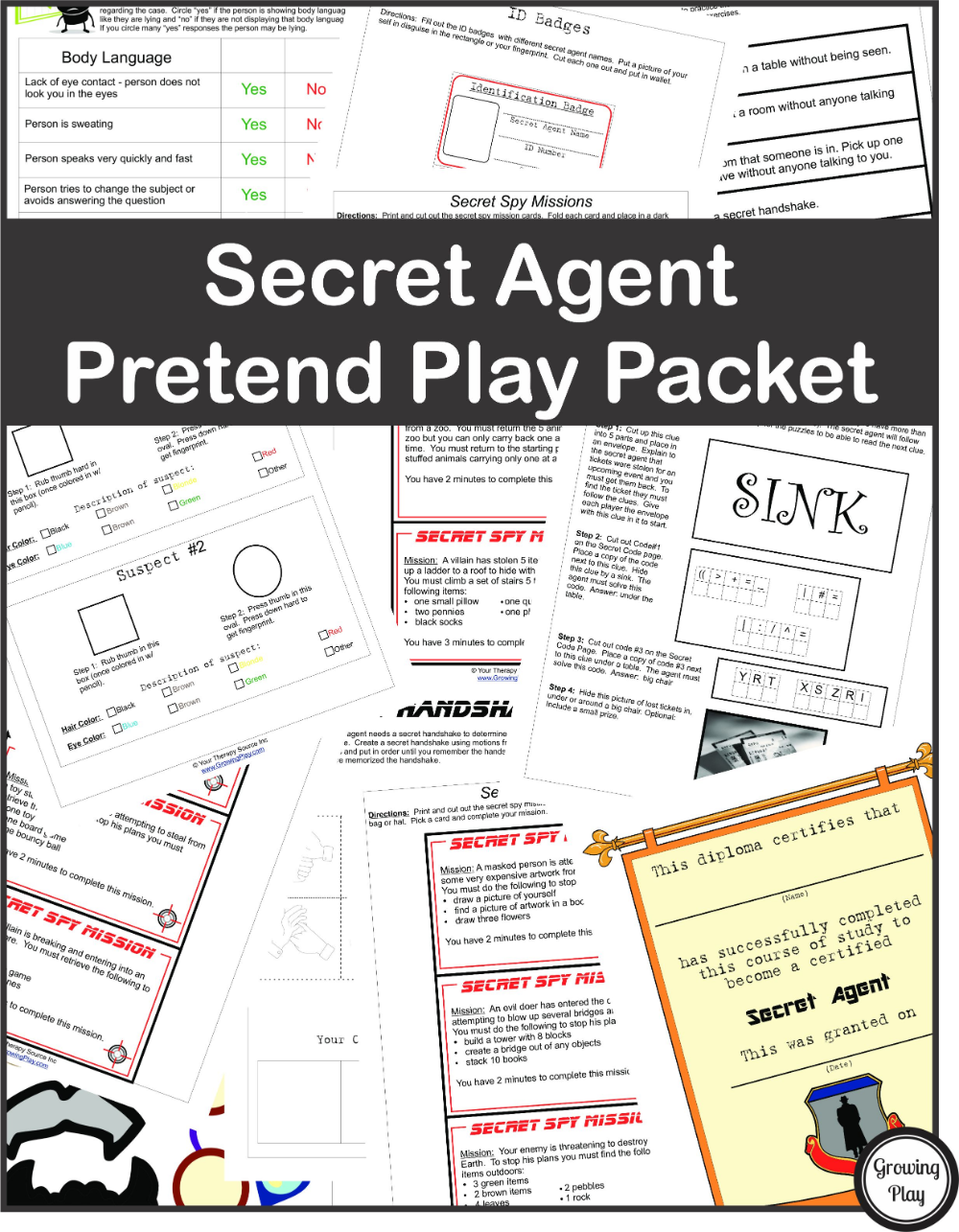 Secret Agent Pretend Play Growing Play Mystery games