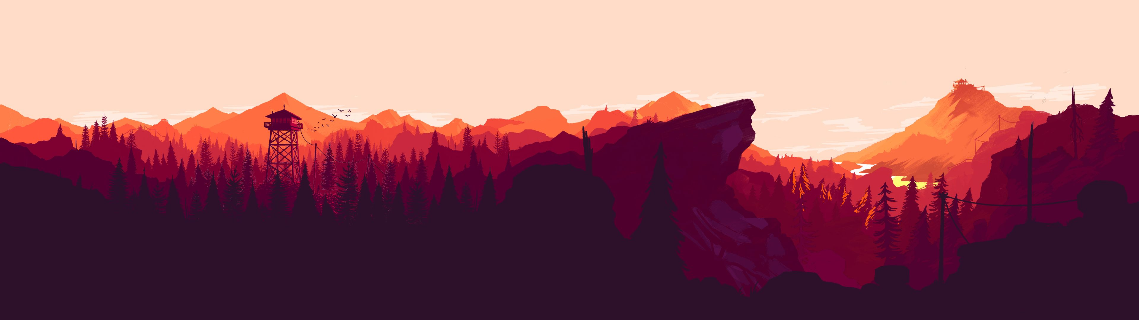 I made some dual and single monitor Firewatch wallpapers