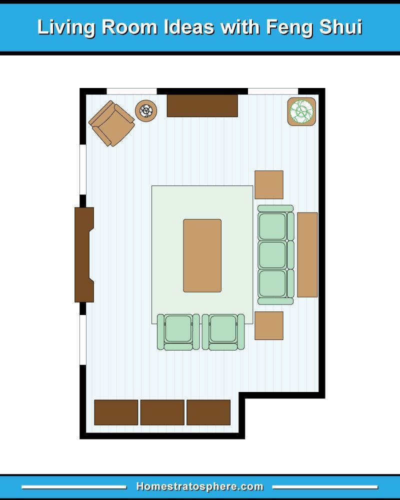 living room feng shui layout with sofa, three arrmchairs and