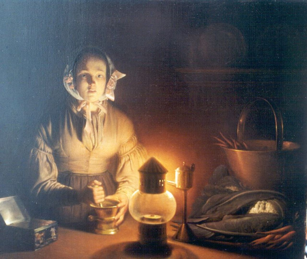 Schendel P Van Petrus Van Schendel Jonge Vrouw Met Een Vijzel Bij Het Licht Van Een Snotneus Olieverf Op Paneel Moonlight Painting Classical Art Painting