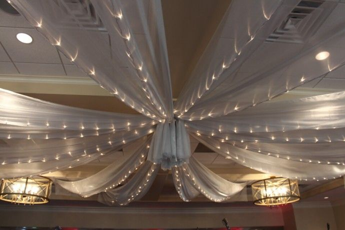 Ceiling Draping Silver Sparkle Organza Over Dance Floor