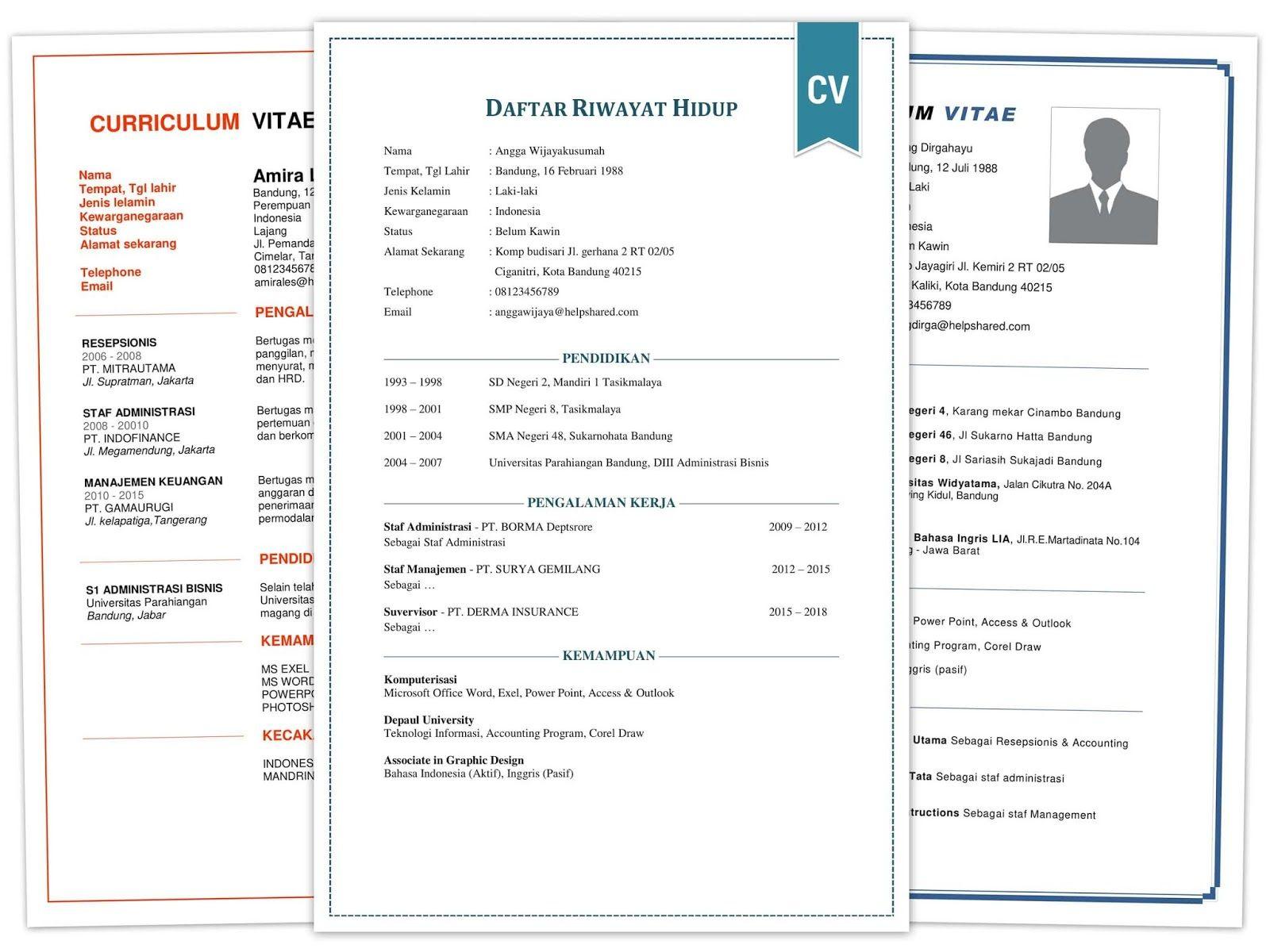 Contoh Daftar Riwayat Hidup CV format DOC PDF yang Baik