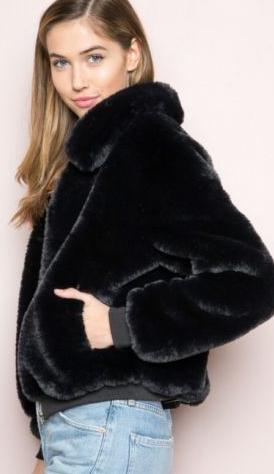 4e481475d Brandy Melville super soft black zip up Georgina faux fur bomber ...