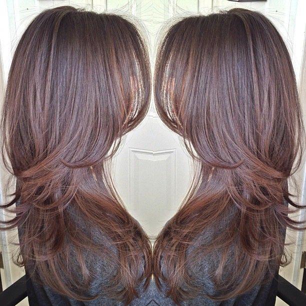 Cortes de cabello largo en tres capas