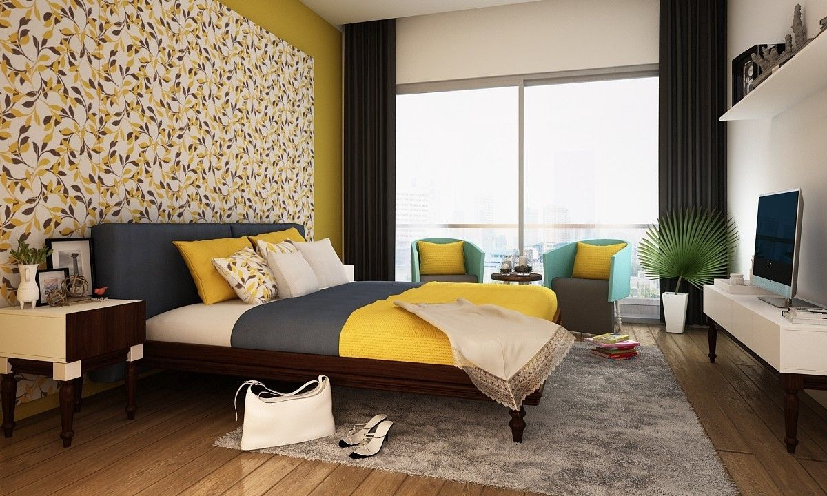 indian bedroom furniture catalogue%0A A pop color living room with neutral walls    Get the exact look  Hire a  designer for FREE with Livspace   delhi  bangalore  bengaluru  hyderaba u