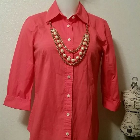 J. CREW. BLOUSE New without tags. Coral color . 3/4 sleeves. J. Crew Tops Blouses