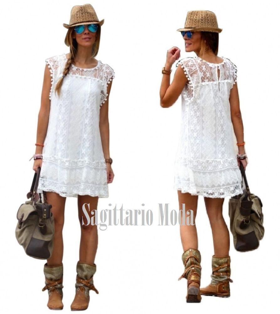 promo code 77a9a 4d75f Abito corto bianco smanicato pizzo crochet cotone mini ...