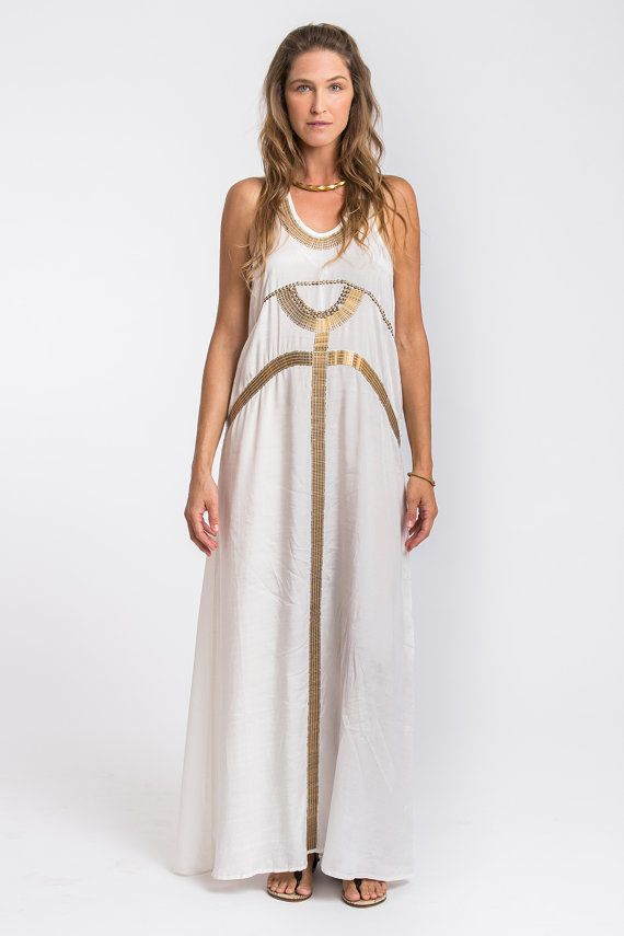 4a2e57f811d Egyptian Dress White and Gold Dress Evening Dress White by Hanamer