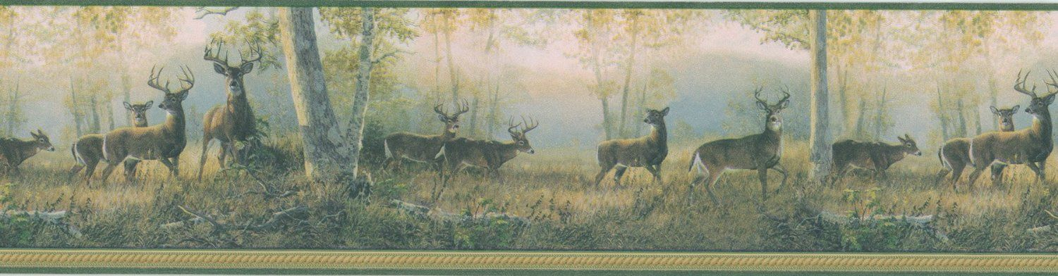 Brewster 418B349 Borders And More Wooded Deer Wall Border 65 Inch By 180