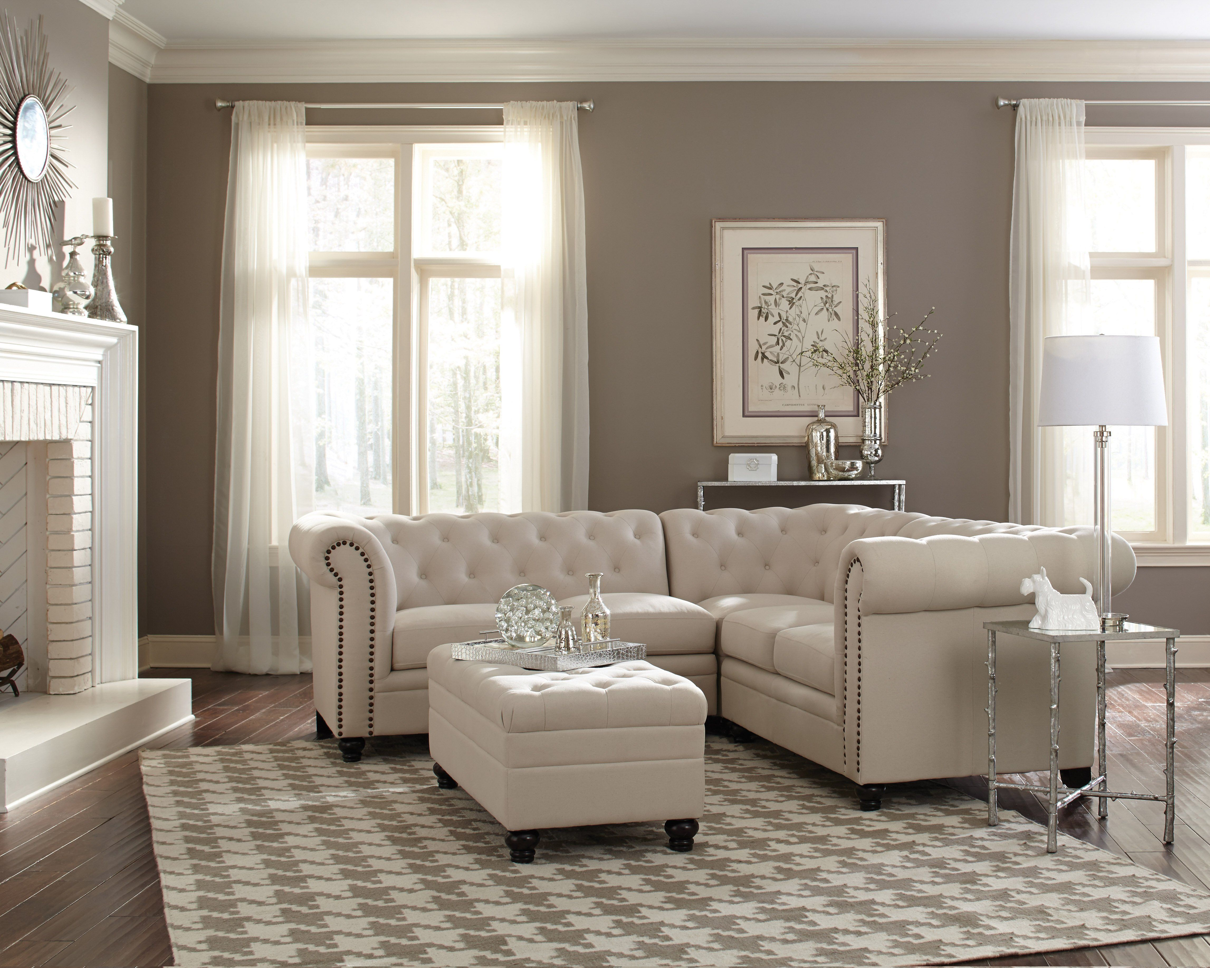 Coaster Roy Oatmeal Linen Blend Couch Sofa Sectional Set