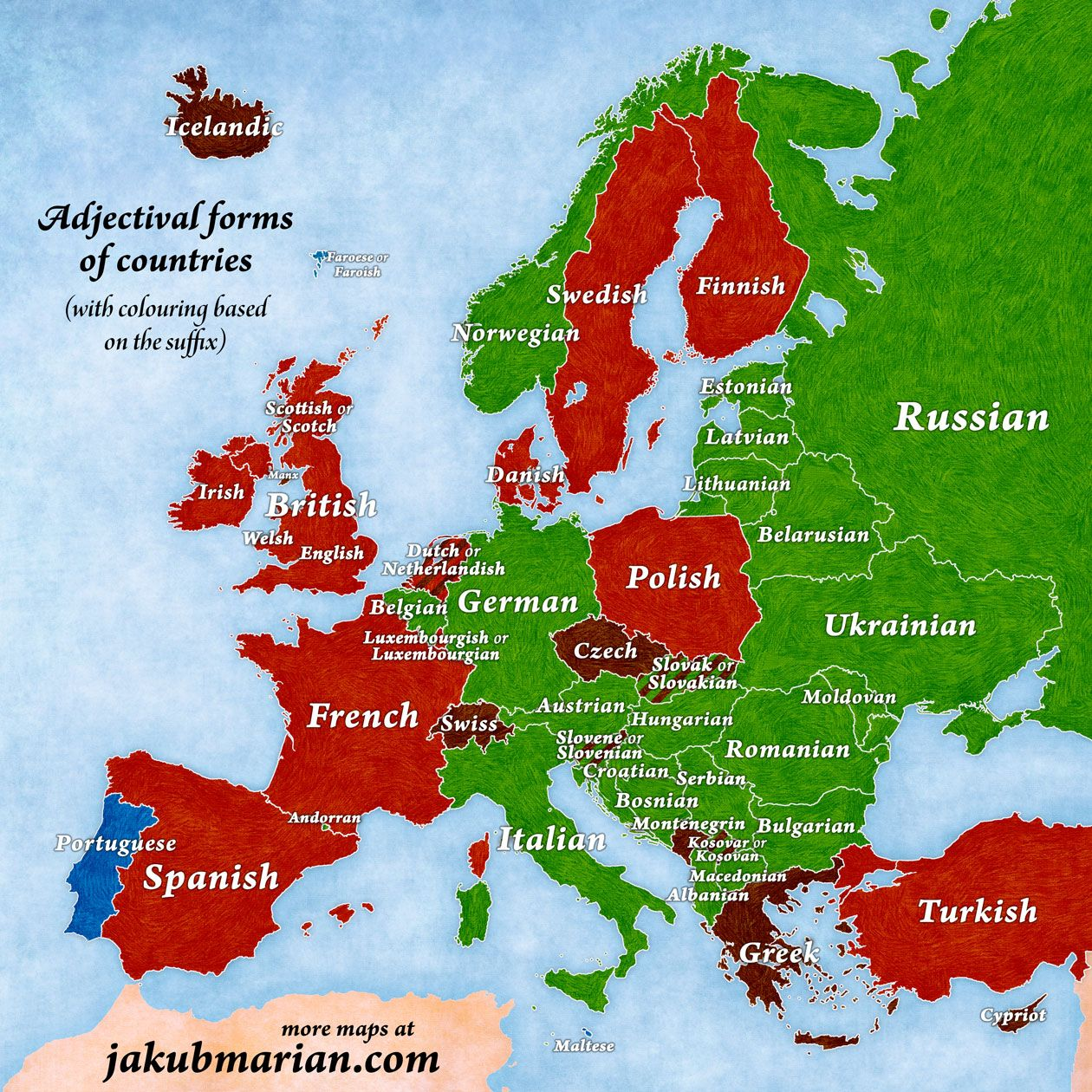 Country adjectives in English map for European countries Maps