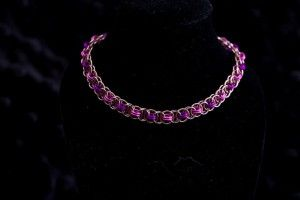 This is a very simple bracelet. It is 8 inches from clasp to end ring. Very pretty and a bit elegant.