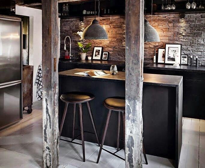 Salpicadero de piedra Negro elegante Vigas Salpicadero cocina
