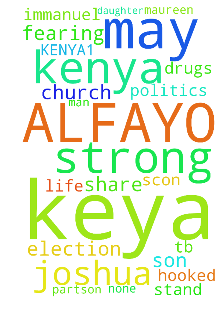 my name is ALFAYO KEYA FROM KENYA1) - my name is ALFAYO KEYA FROM KENYA 1) I REQUEST PRAYER FOR MY SON IMMANUEL KISUZA WHO IS HOOKED TO DRUGS 2) Pray for my daughter Maureen keya to be strong in Christ and also to get a God fearing man to share her life with. 3. Pray for the church in kenya that it may stand strong and none part-son to politics as we get to election.   may God bless His servant TB. JOSHUA AND SCON. Posted at: https://prayerrequest.com/t/hEm #pray #prayer #request…