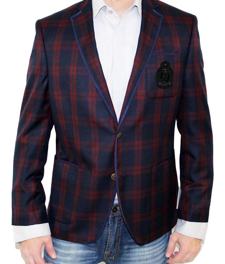 Tallia Orange Navy/Burgundy Plaid Sport Coat Sport coat