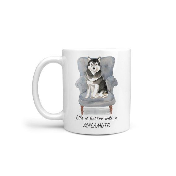 Life Is Better With A Malamute Dog Mug; Cute Illustrated