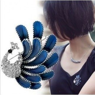 New Arrival Purple Blue Clear Rhinestone Peacock Brooches
