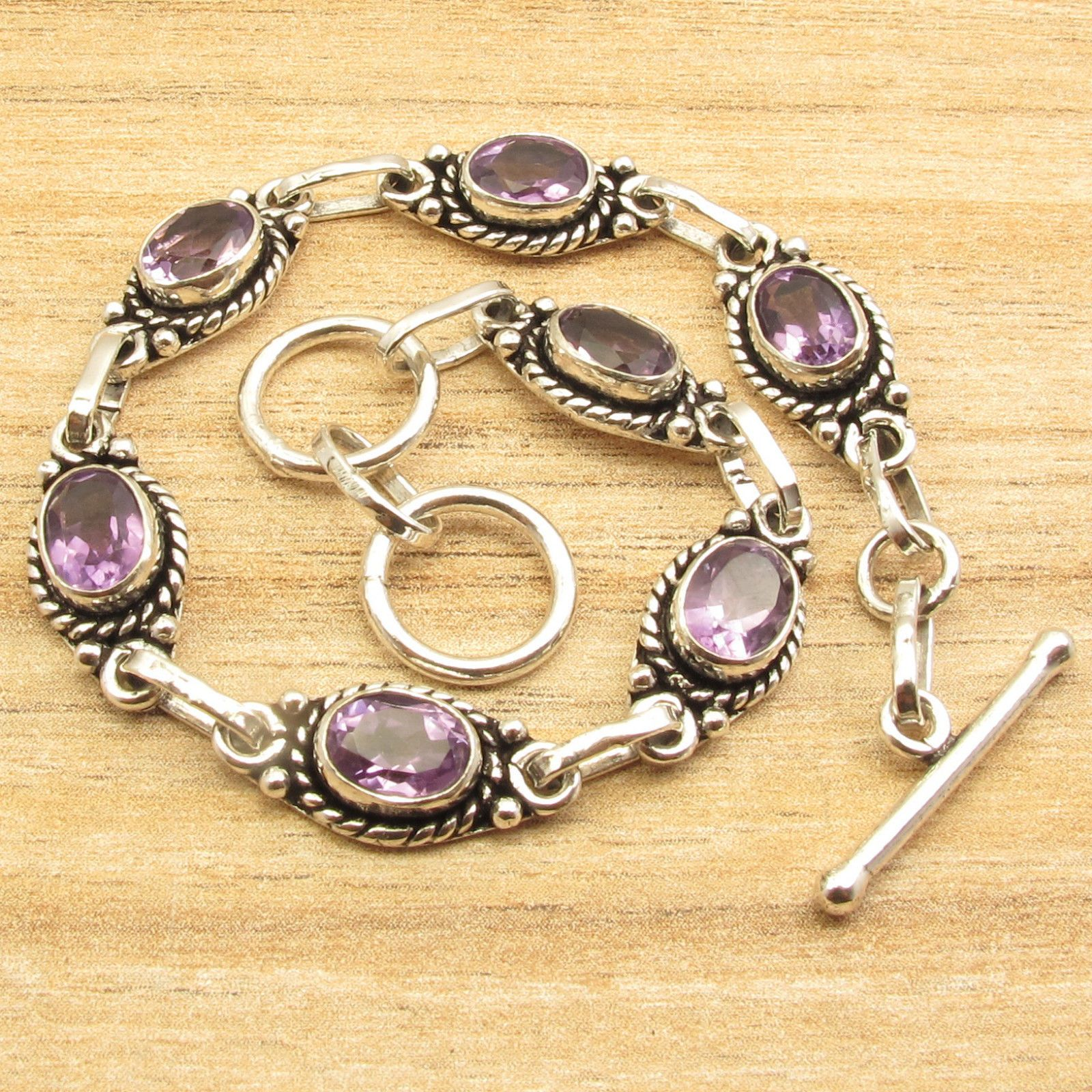 Silver plated cut purple amethysts stones teen girls bracelet