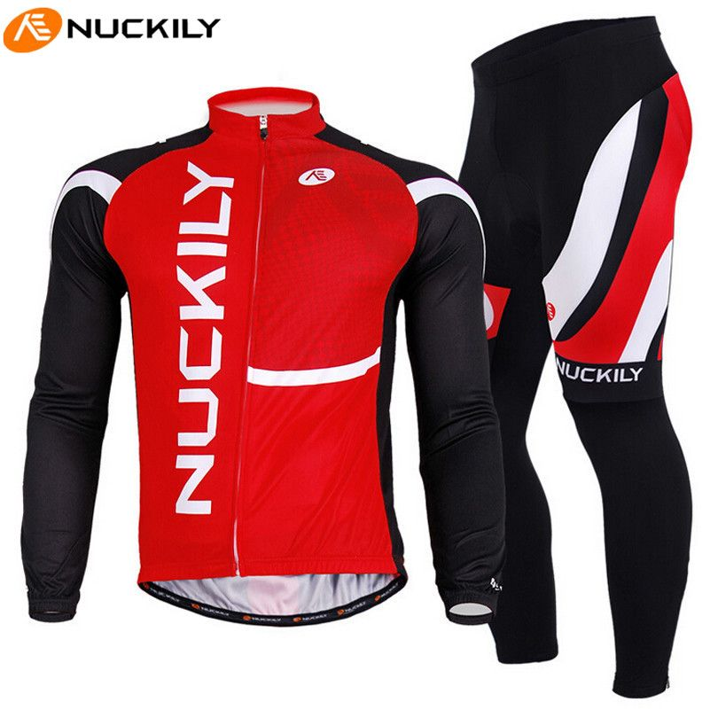 98819df4d NUCKILY Men Red Black Long Sleeve Breathable Jacket Pants MTB Bike Bicycle  Cycling Jersey Set Sport Clothing Maillot Ciclismo  Affiliate