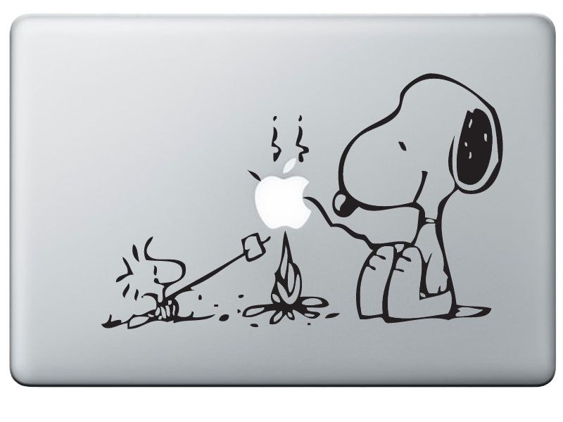 Snoopy macbook sticker decal for a mac laptop with woodstock camping campfire