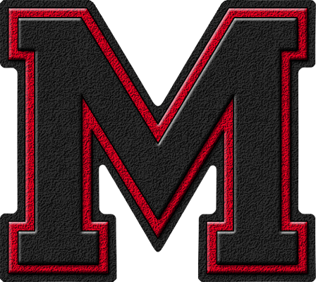 letter m | Presentation Alphabet Set: Black & Cardinal Red Varsity ...