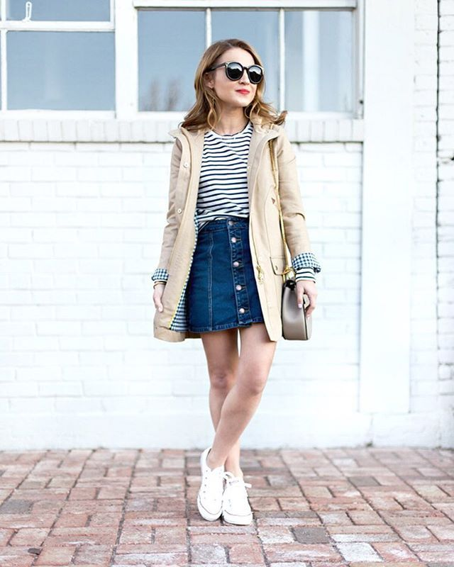 3b871bfcdf43 Pin for Later: 33 Outfits Every Petite Woman Should Try A Striped Shirt, a  Denim Mini, a Jacket, and Sneakers