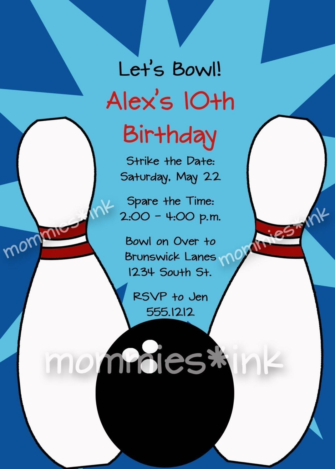 Free Bowling Party Invitations Templates With Blue Background Colors ...