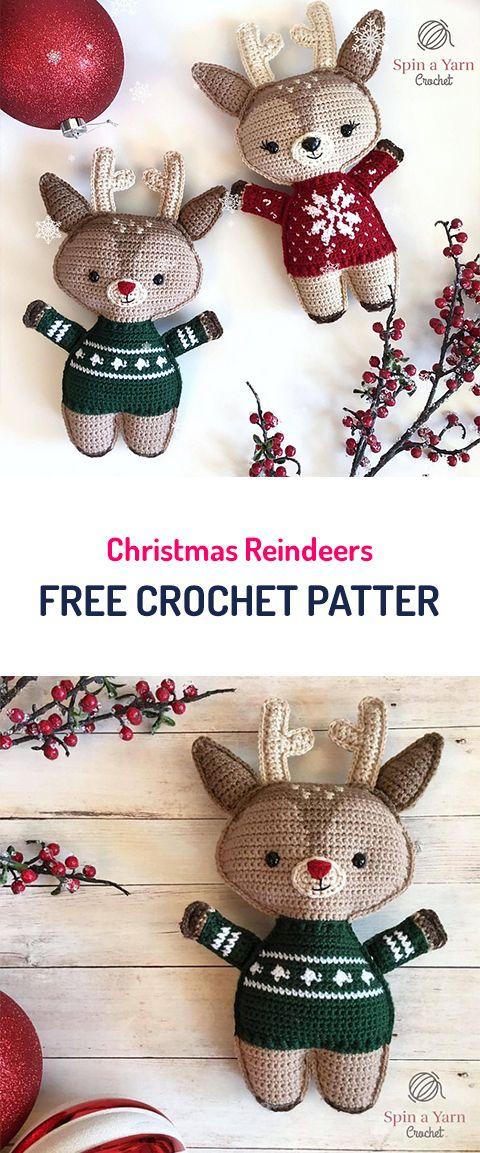 Christmas Reindeers Free Crochet Pattern #crochet #homedecor ...