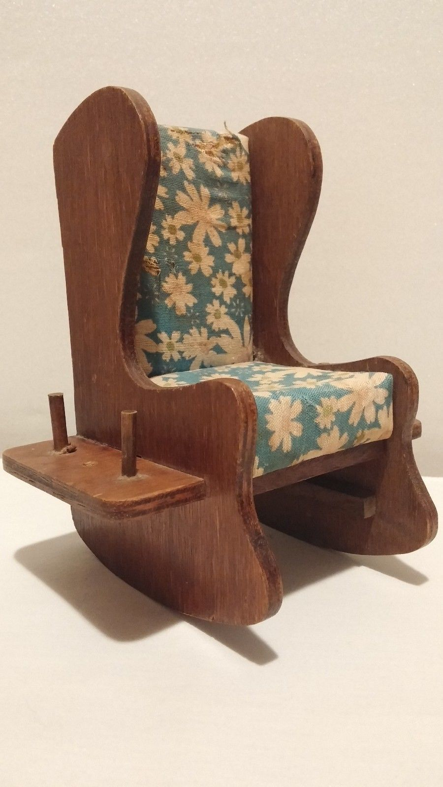 Wooden WOOD ROCKING CHAIR PIN CUSHION THREAD SPOOL HOLDER