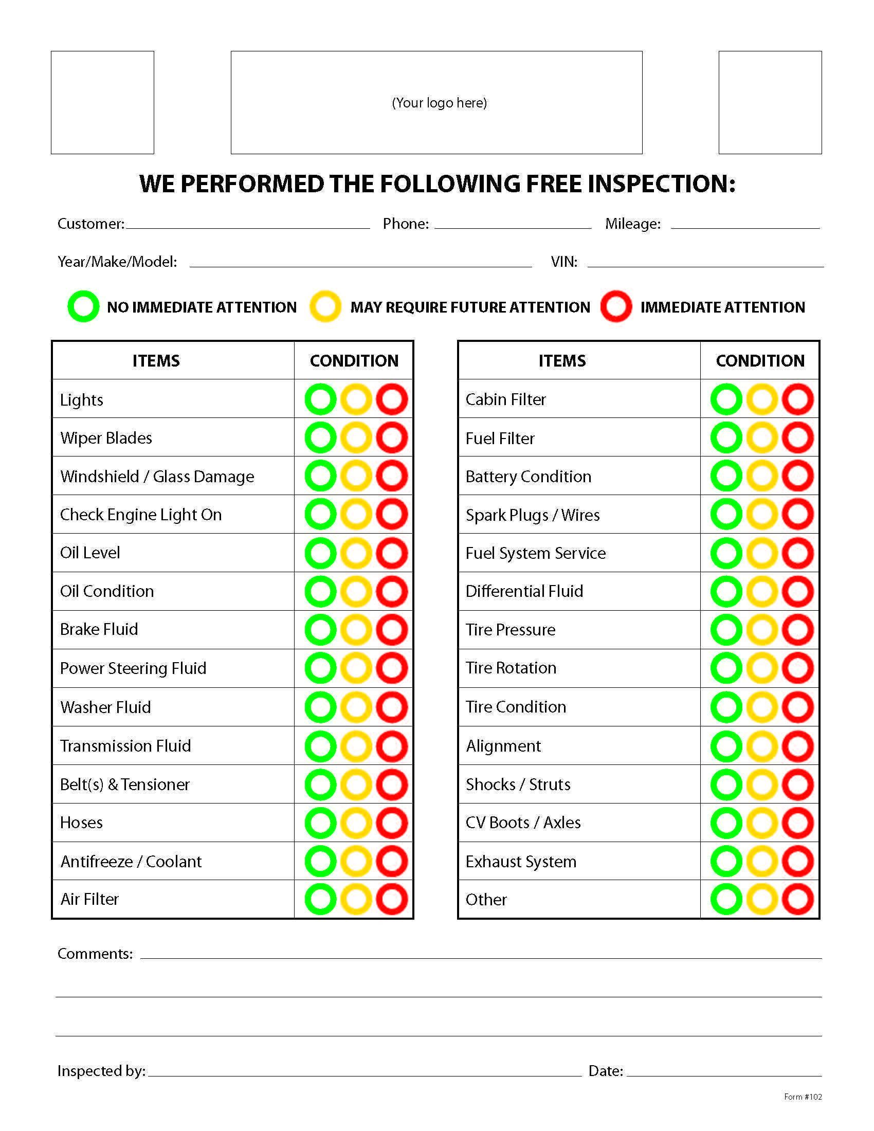 Easy Vehicle Safety Inspection form in 2020 Car repair