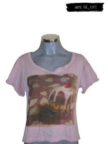 2c8ae3389f Camiseta Rosa Con Estampado Pull