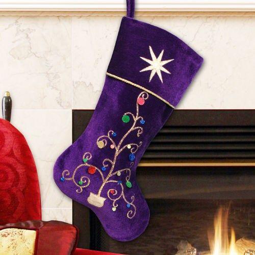 purple christmas stocking embroidered purple velvet holiday stocking - Purple Christmas Stocking