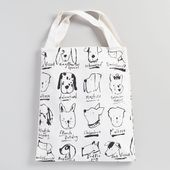 Photo of Large Black and White Illustrated Dogs Canvas Tote Bag from World Market #fashi …