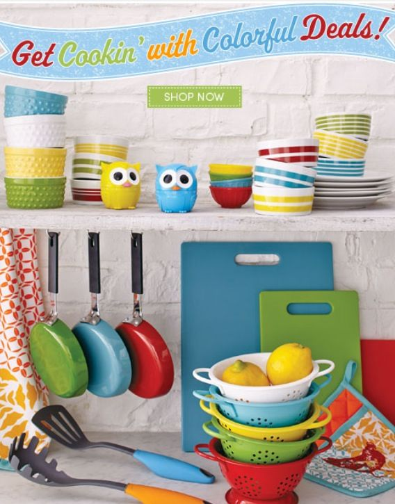 Cute fun kitchen! Love the colors and the brick walls