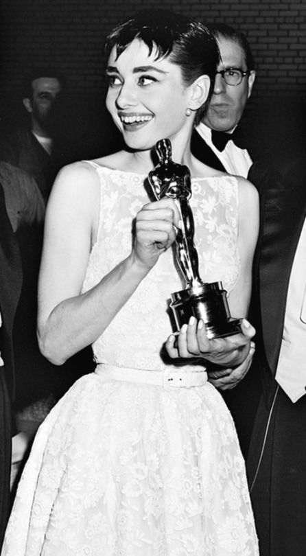 Audrey Hepburn holds her Academy Award (for Best Actress in 'Roman Holiday'), 1954