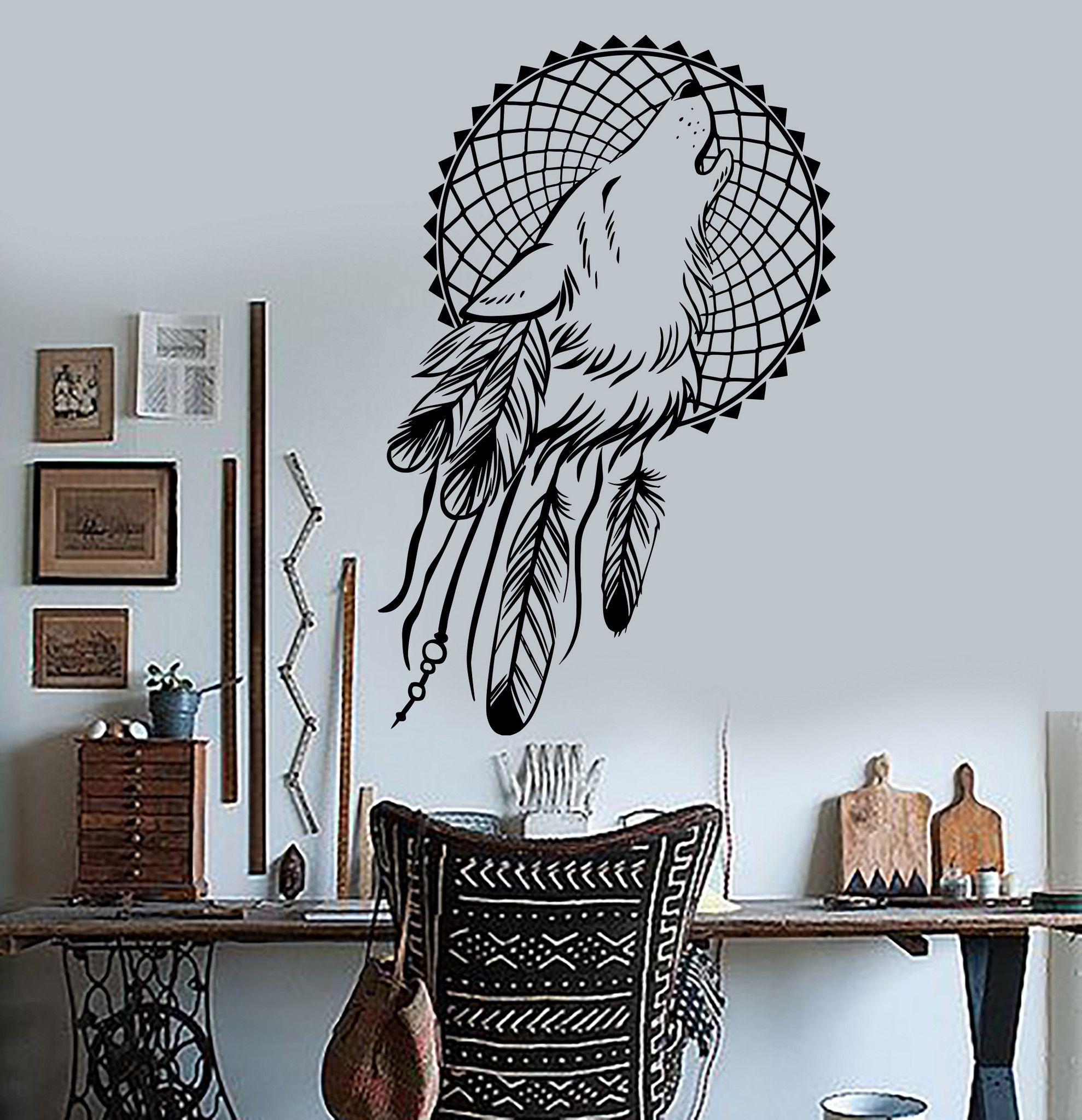 vinyl wall decals dream catcher wolf bedroom ethnic stickers unique gift ig3620