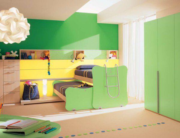 kinder-etagenbett -bilder-jugendzimmer-baby-frisch-grün