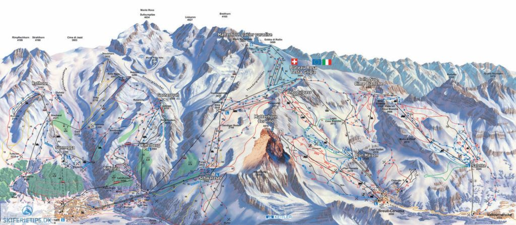 Cervinia Piste Map High resolution JPEG skiing cervinia