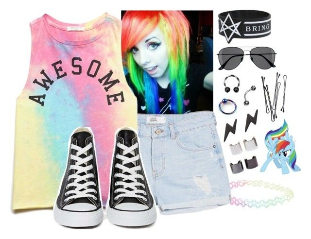 """""""Rainbow Dash Summer"""" by mylittlepony-outfits ❤ liked on Polyvore featuring With Love From CA, MANGO, Forever 21, Converse, Marc by Marc Jacobs, H&M, Luv Aj, BOBBY, MLP and MyLittlePony"""