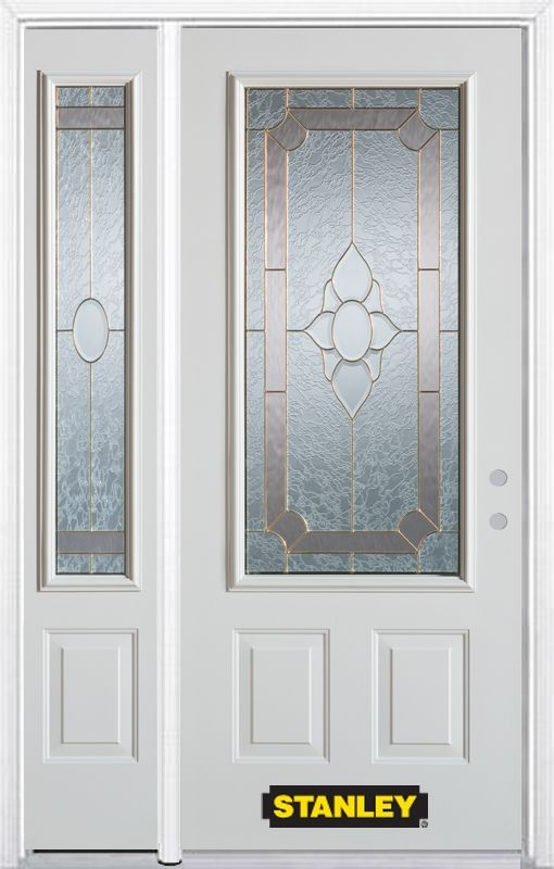 48 25 Inch X 82 375 Inch Rochelle Brass 3 4 Lite 2 Panel Prefinished White Left Hand Inswing Steel Prehung Front Door With Sidelite And Brickmould Energy Star Front Door Grey Doors Stanley Doors